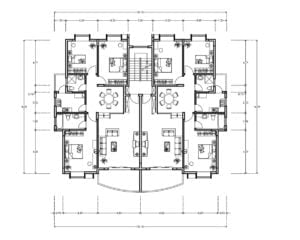 DWG residential apartment building, two three-bedroom apartments with two bathrooms, living room, kitchen, dining room, terrace and service area
