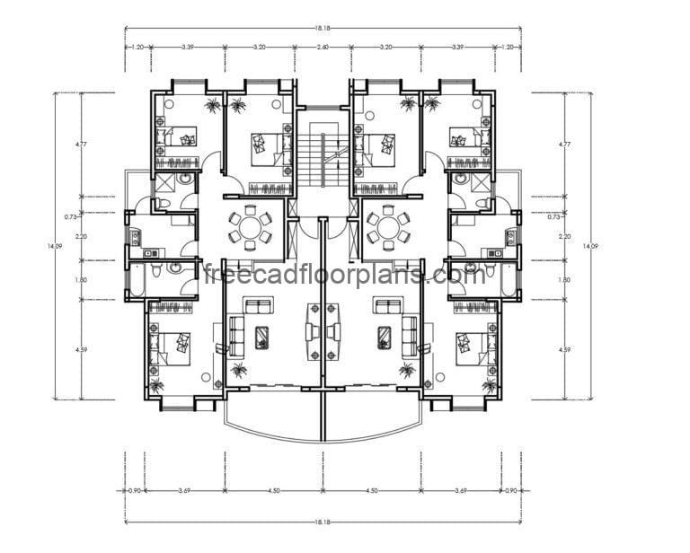 Residential Building Autocad Plan, 2307202
