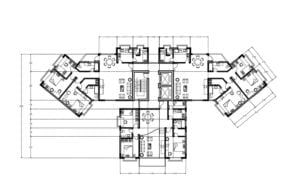 Architectural project for free download of housing complex, dimensioned and architectural plan, plans drawn in Autocad DWG format
