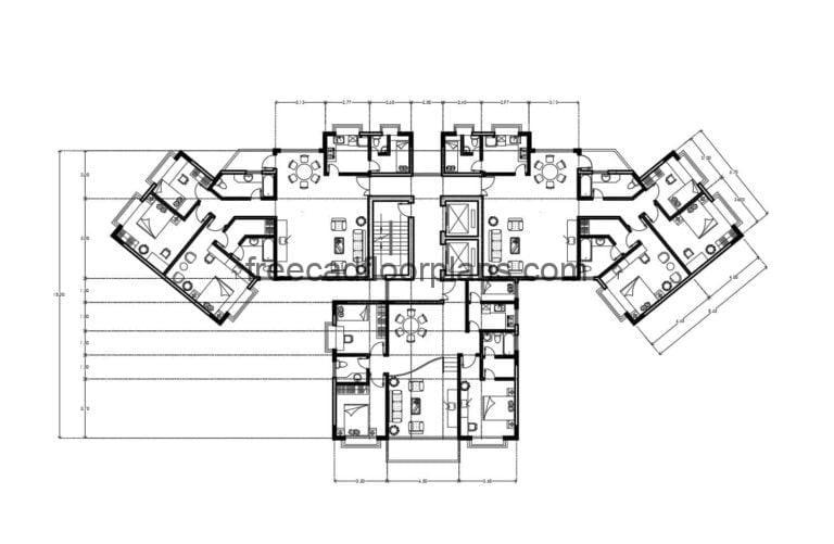 Residential Building Autocad Plan, 2007202