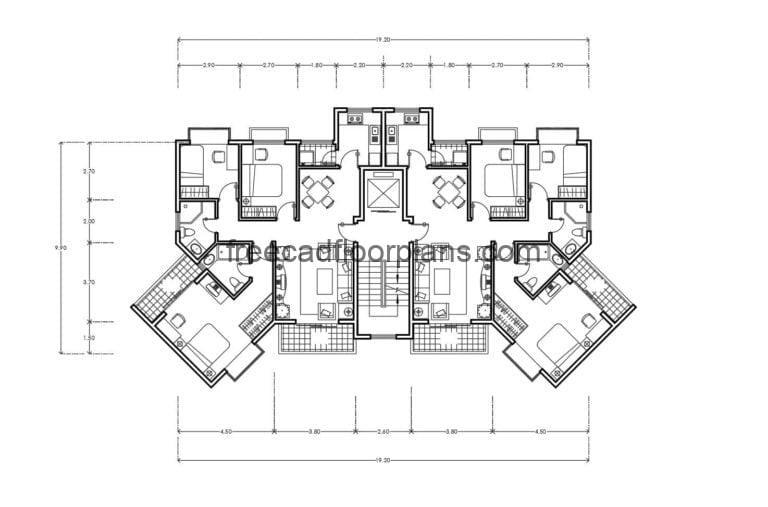Residential Building Autocad Plan, 2407202