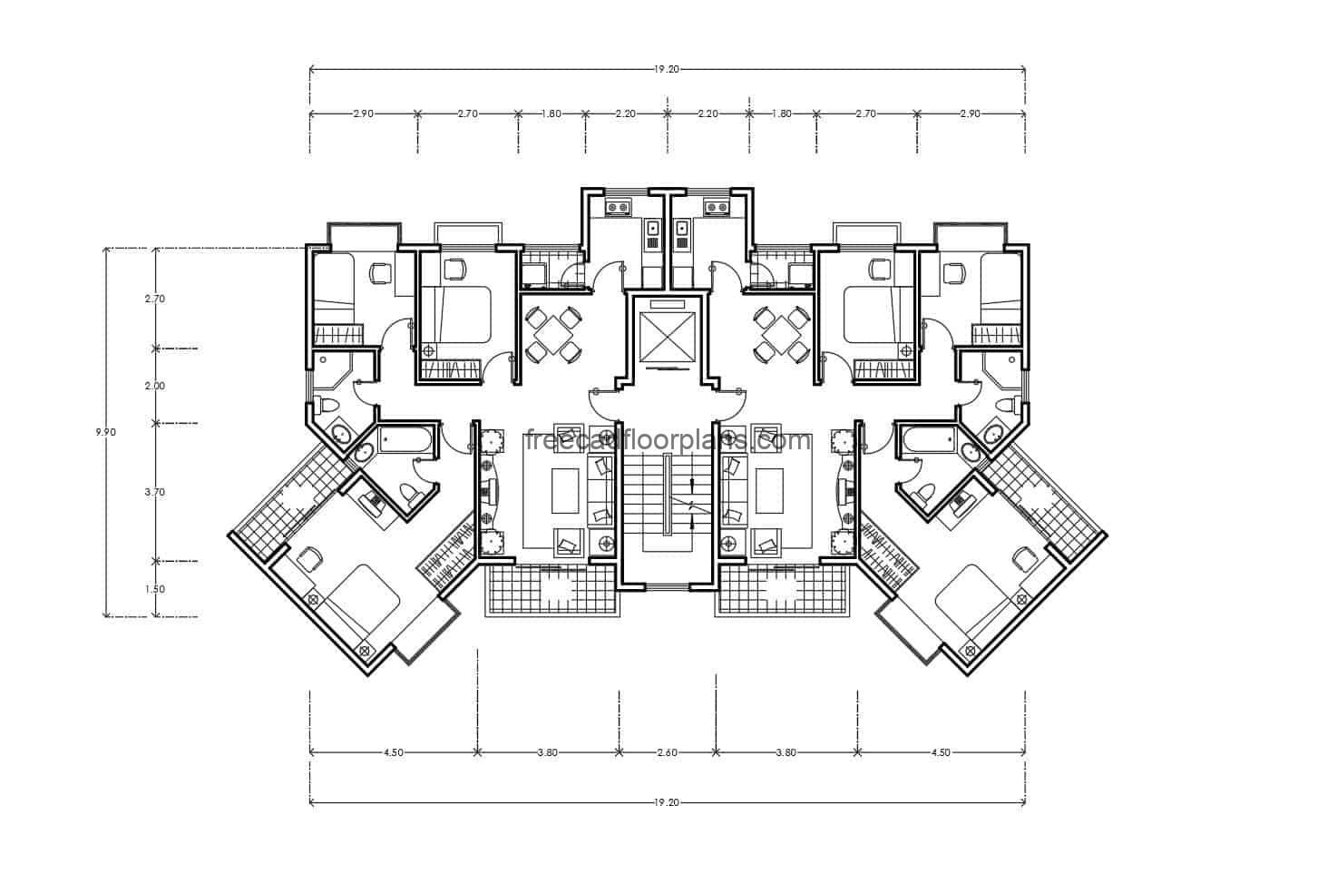 plans drawn in Autocad DWG format Architectural project for free download of residential building complex, dimensioned and architectural plant