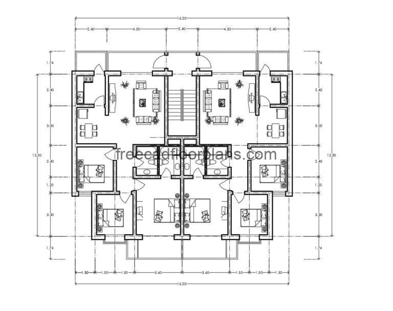 Residential Building Autocad Plan, 2807201