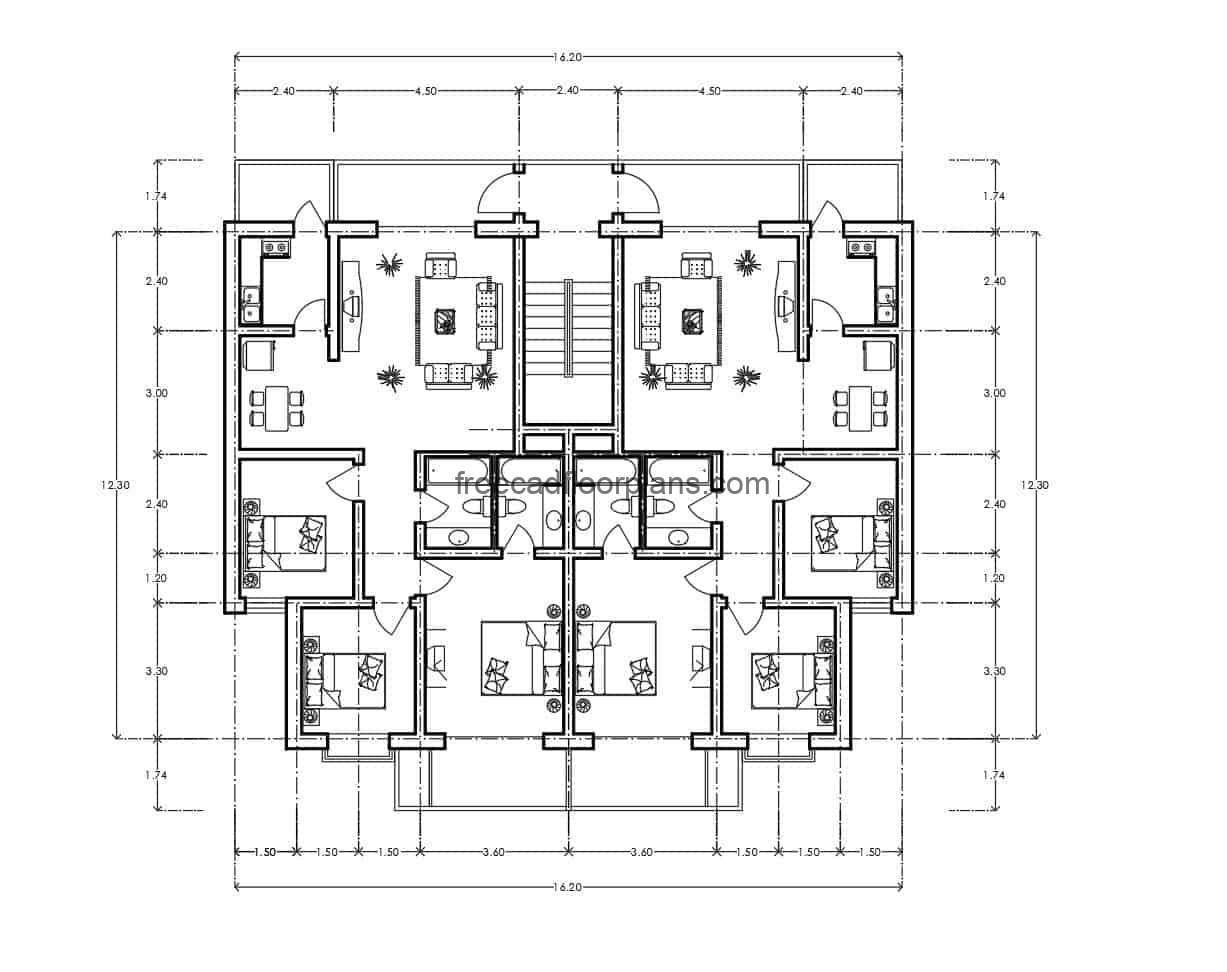 Residential apartment with main entrance from the back, file for free download, architectural plan and dimensioning in DWG format