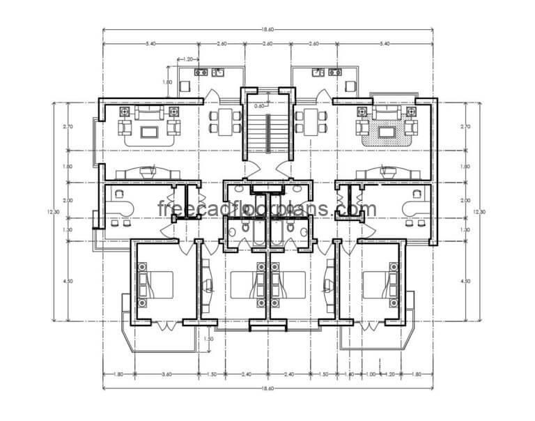 Residential Building Autocad Plan, 1507201
