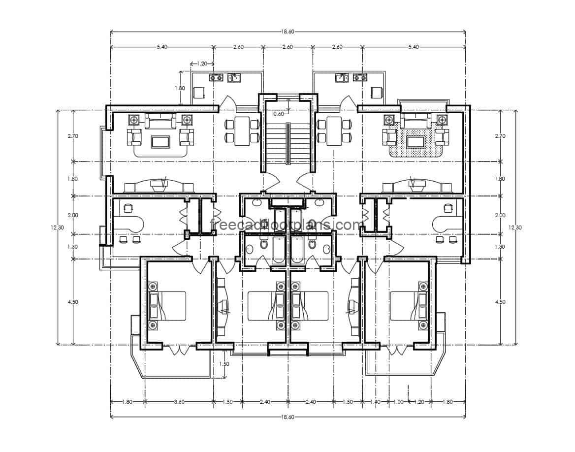 Architectural project of residential building in autocad, the building has symmetrical plant distributed in two buildings, distribution of space, living room, kitchen, dining room, and private area with three rooms, or two rooms and office of study, architectural and dimensioned plant.