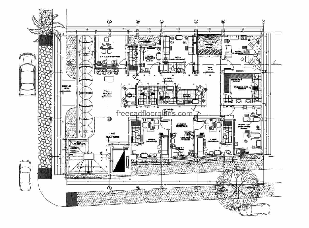 Design of a specialized geriatric clinic, multi-level building for free download, plans in autocad DWG format, architectural plans, dimensions per level