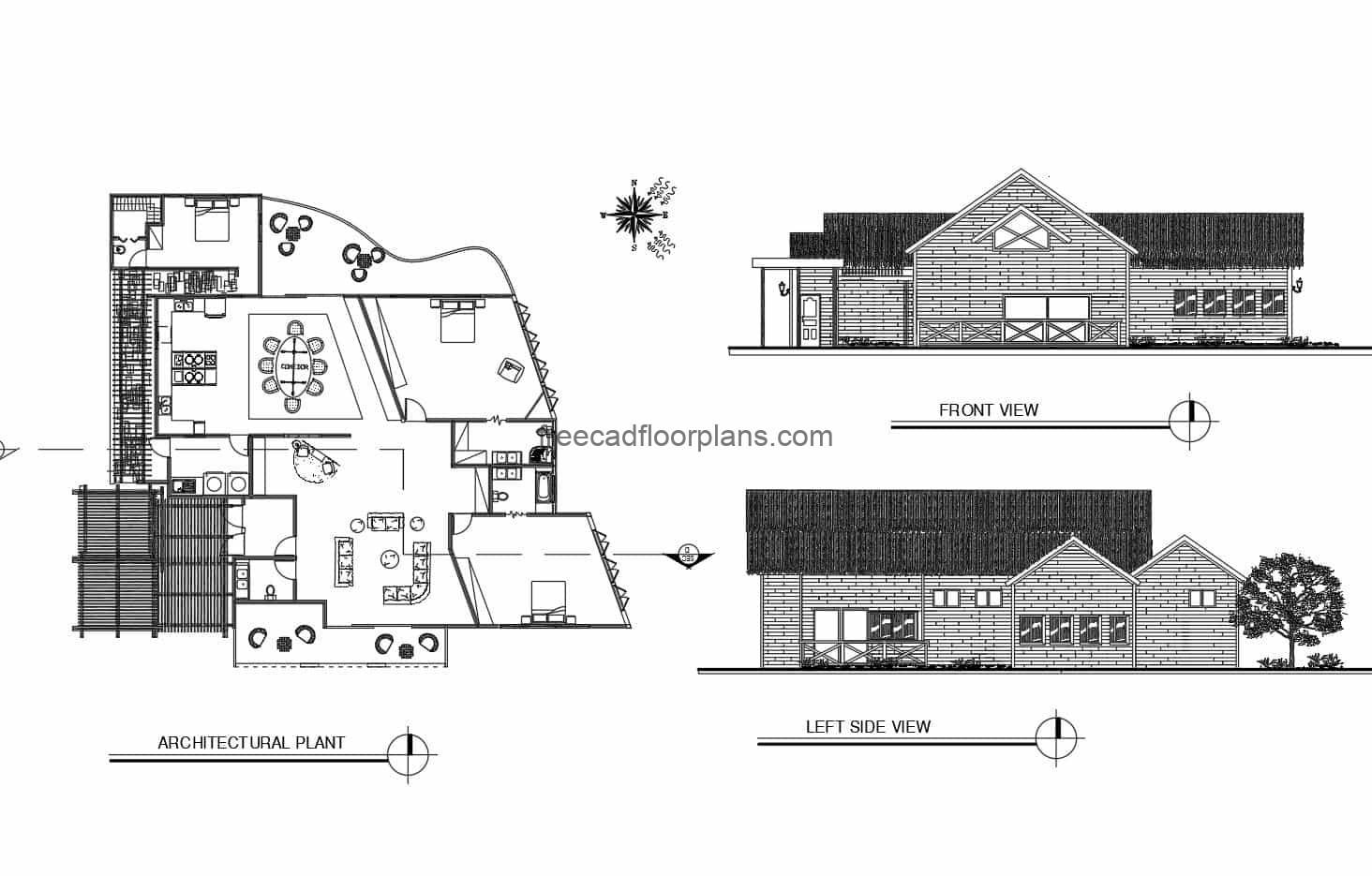 One-level country house plan for free download in DWG format of autocad, architectural plan, dimensions and elevations.