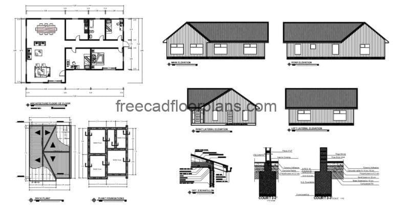 Simple One Storey Country House Autocad Plan, 1008201
