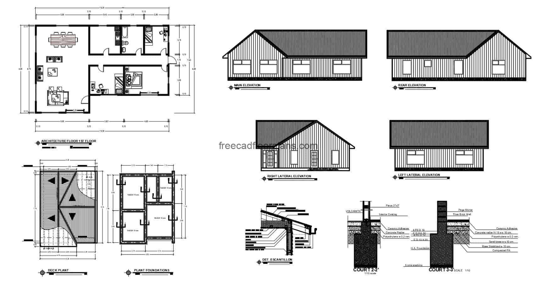 Simple one level country house for free download, autocad files, architectural plan and elevations.