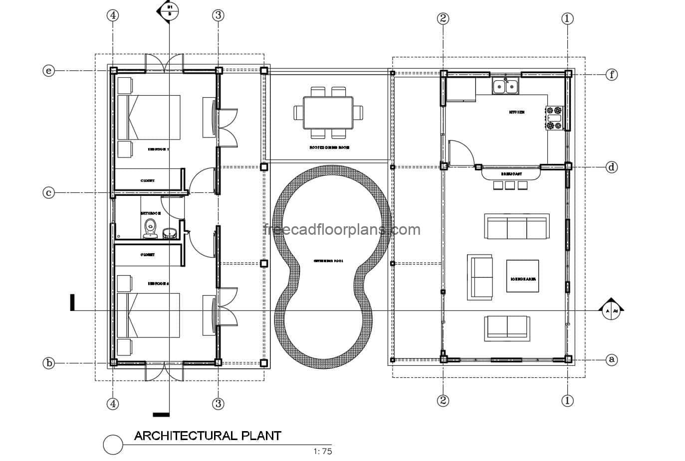Low cost country house set of plans in Autocad format