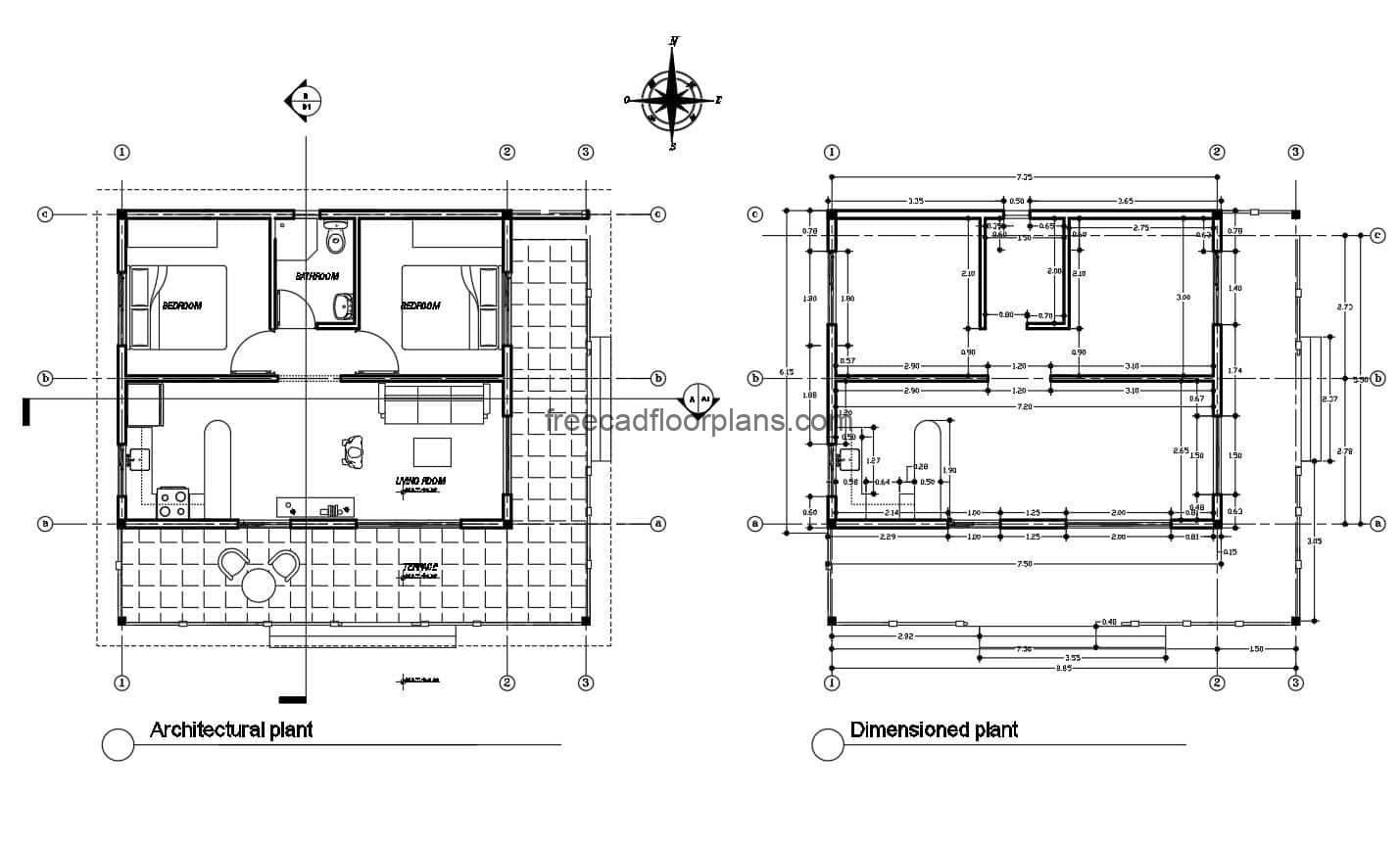 DWG small cotagge floorplans for download