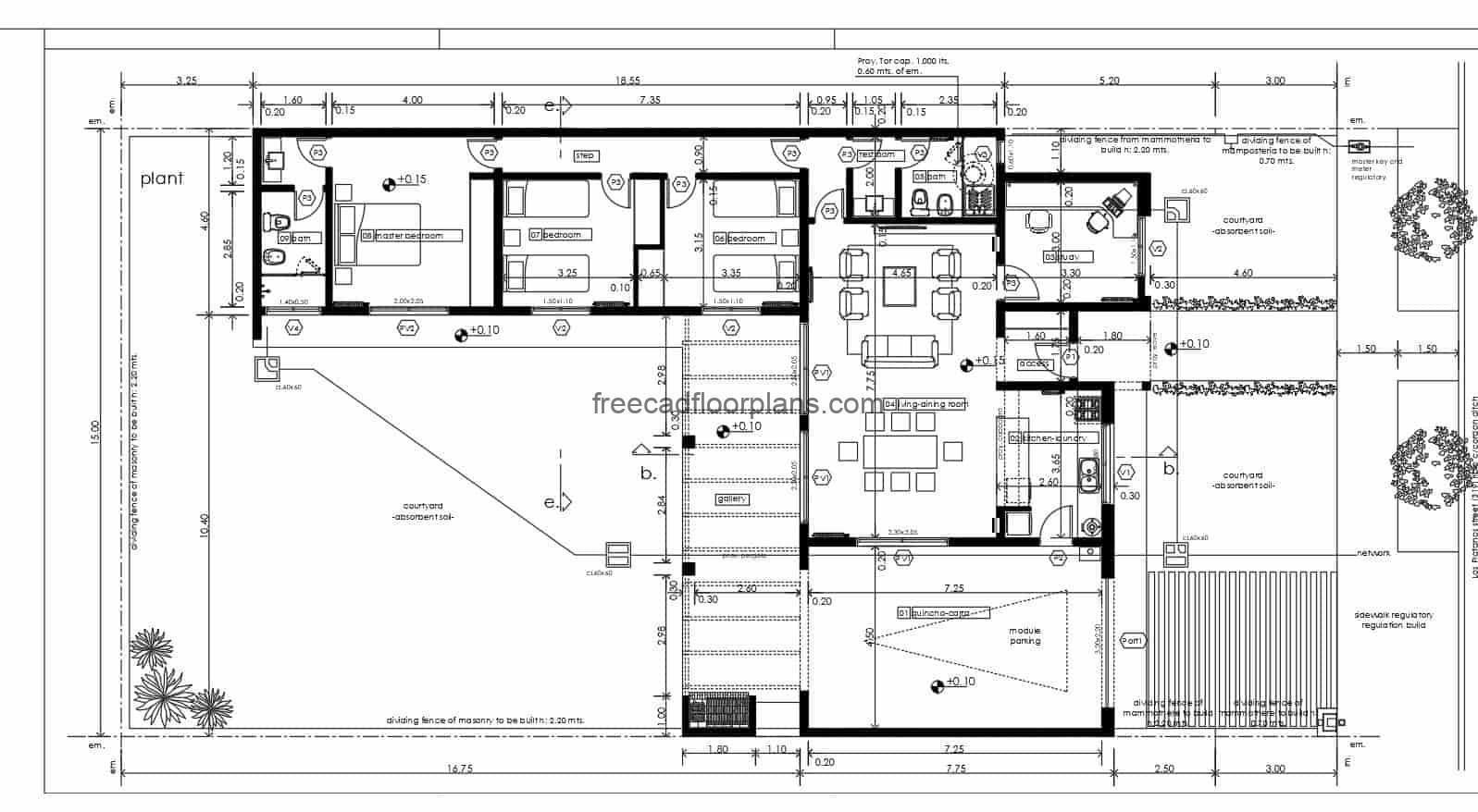 autocad drawing file for free download, one level house with three bedrooms