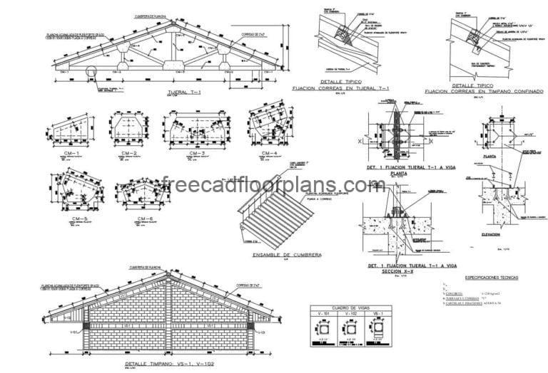 Constructive Details Of Wooden Roof DWG Autocad, 3107202