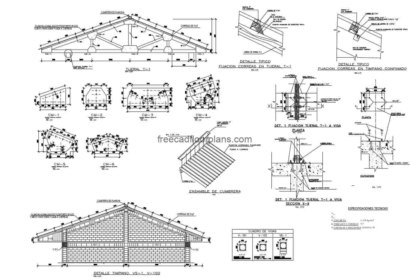 Autocad plan for free download of construction details of wooden roof