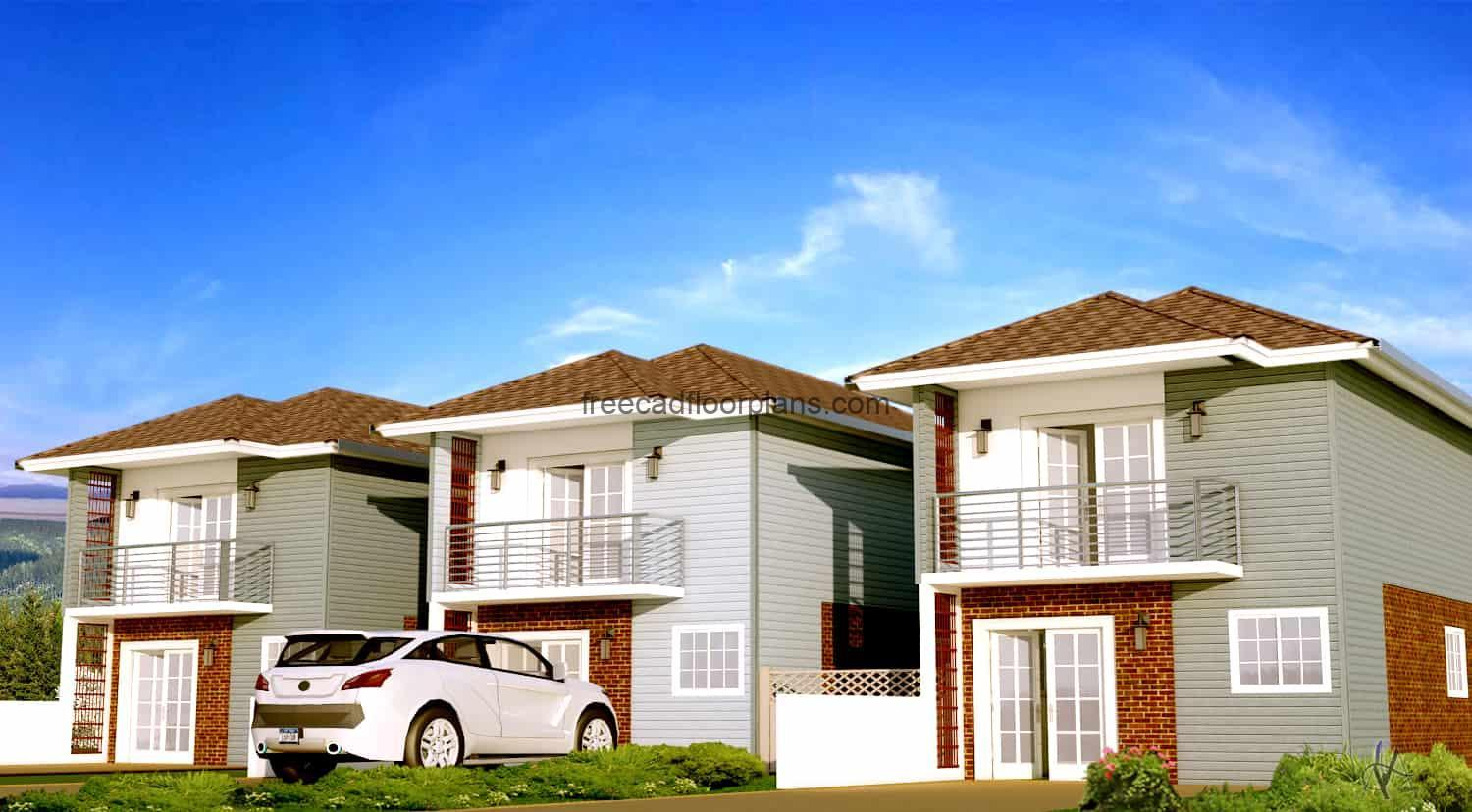 Architectural project of a small two-storey townhouse made of wood and brick blocks, plans in DWG Autocad format