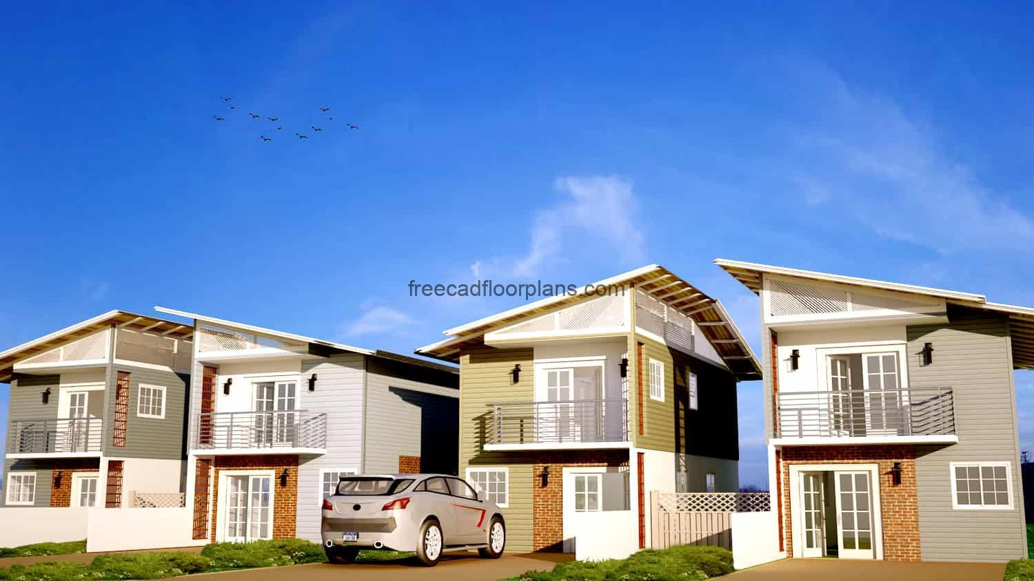 Complete architectural project of a small two-level townhouse, plans in DWG Autocad format