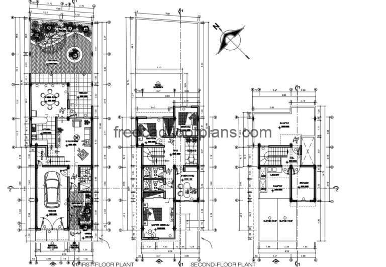 Two-storey House With Rooftop Autocad Plan, 2608201