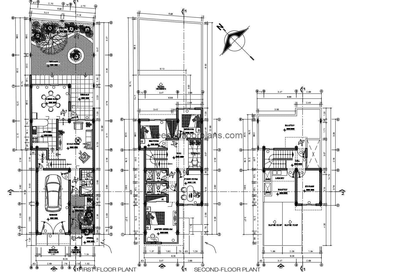 DWG Architectural and dimensional drawings of a two-storey house with roof for free download