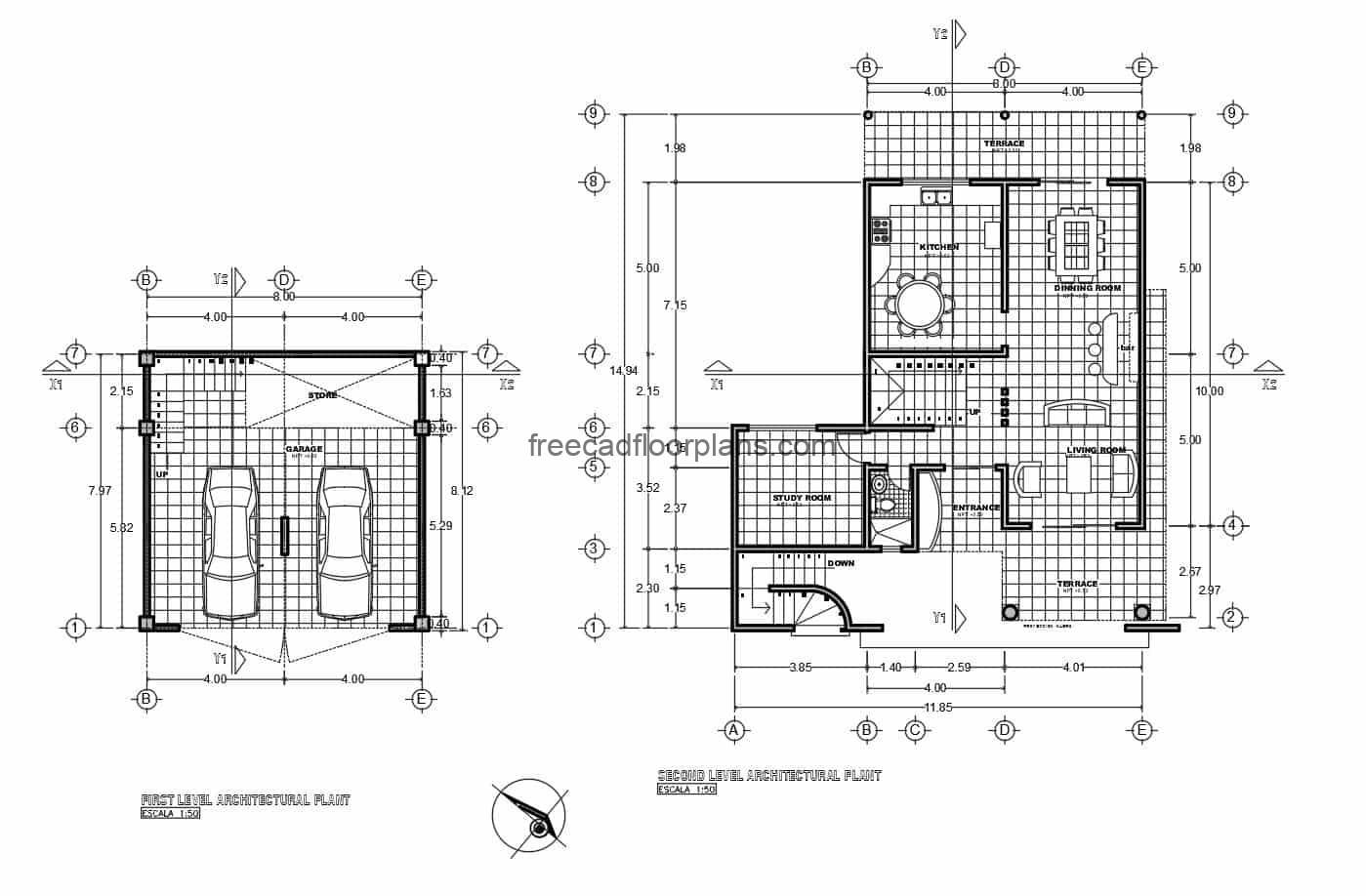 Architectural plant, dimensioned and facade of country house of three levels, plans in autocad for free download