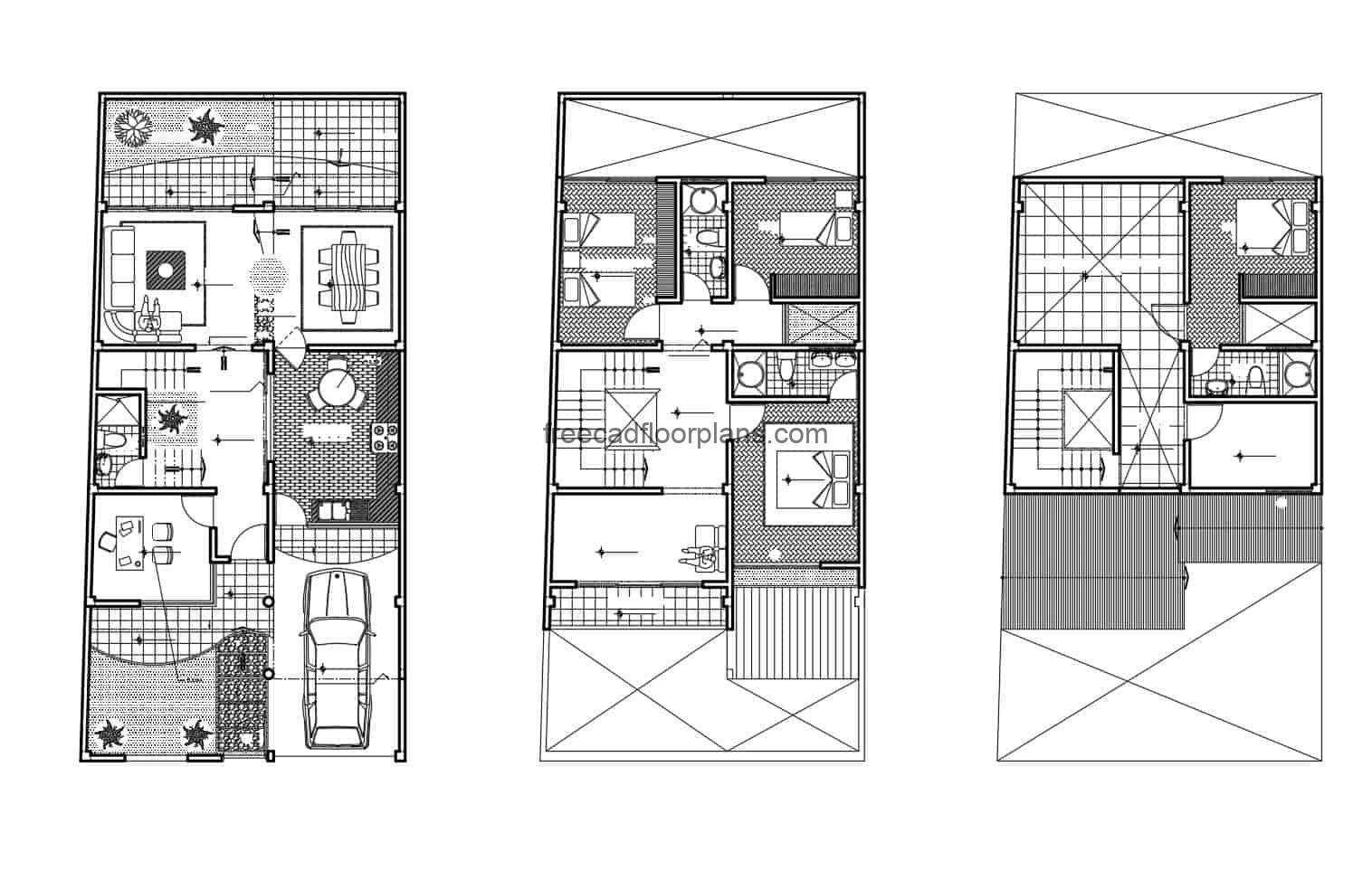 Plan in autocad for free download, three-level house with four rooms