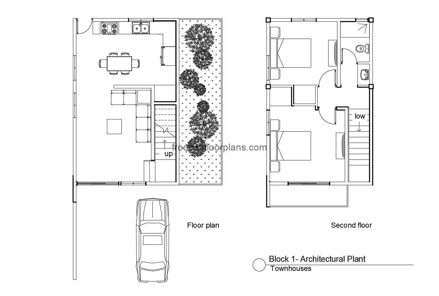 Full autocad project Townhouse for download