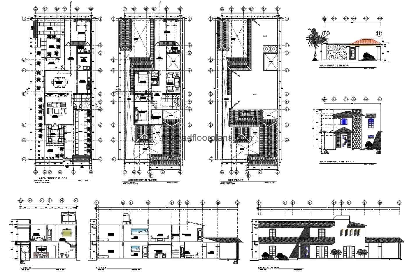 DWG file for free download with drawing and complete plans of a two-level house with four rooms.