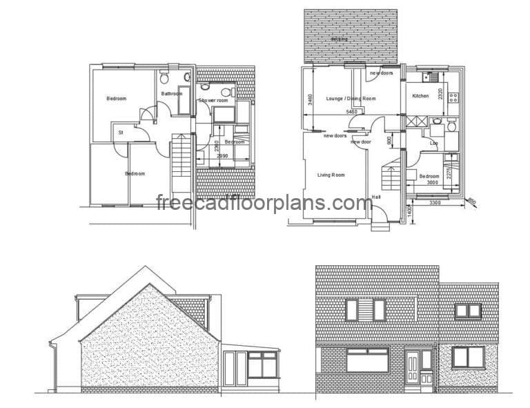 Two Storey Country House Autocad Plan, 1308201