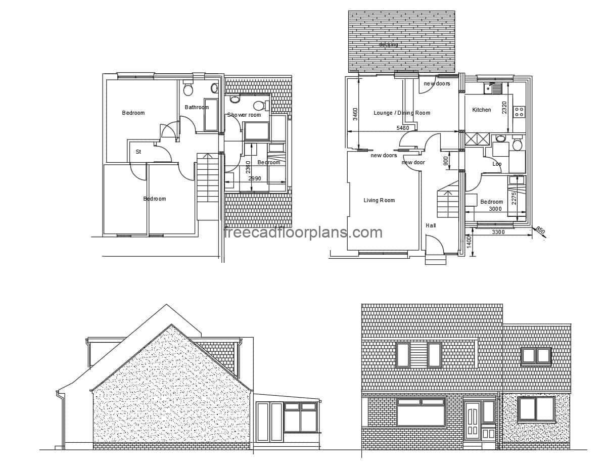 Two-level country villa map, drawing for free download at DWG