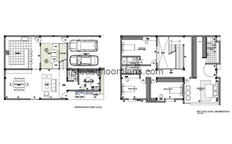 Two Storey House Furnished Project Autocad Plan, 1808201