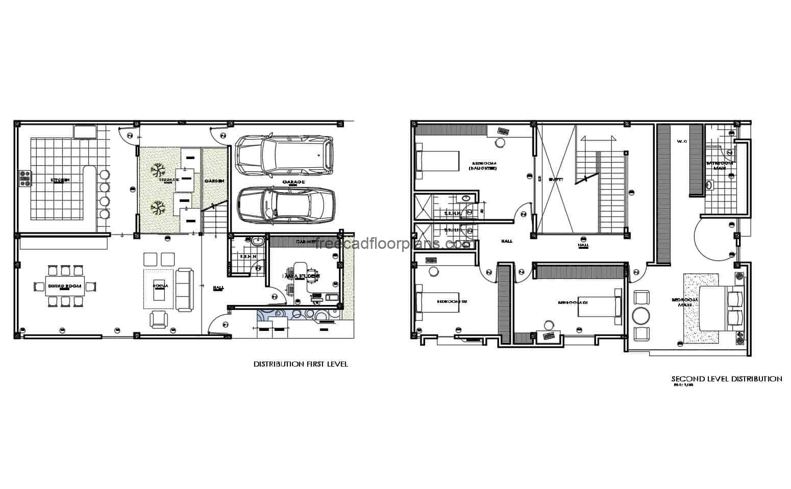 Architectural drawing of a fully furnished floor in Autocad DWG format for free download, two level residence.