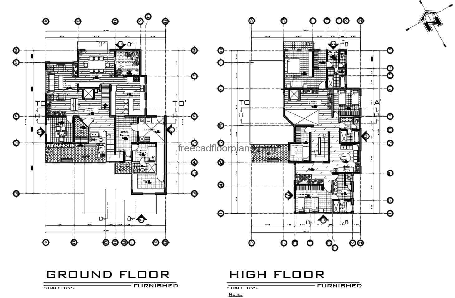 Complete two-level house project designed in autocad, architectural plan, dimensioning, elevations, sections, foundation details, landscaping, free download plan in DWG format