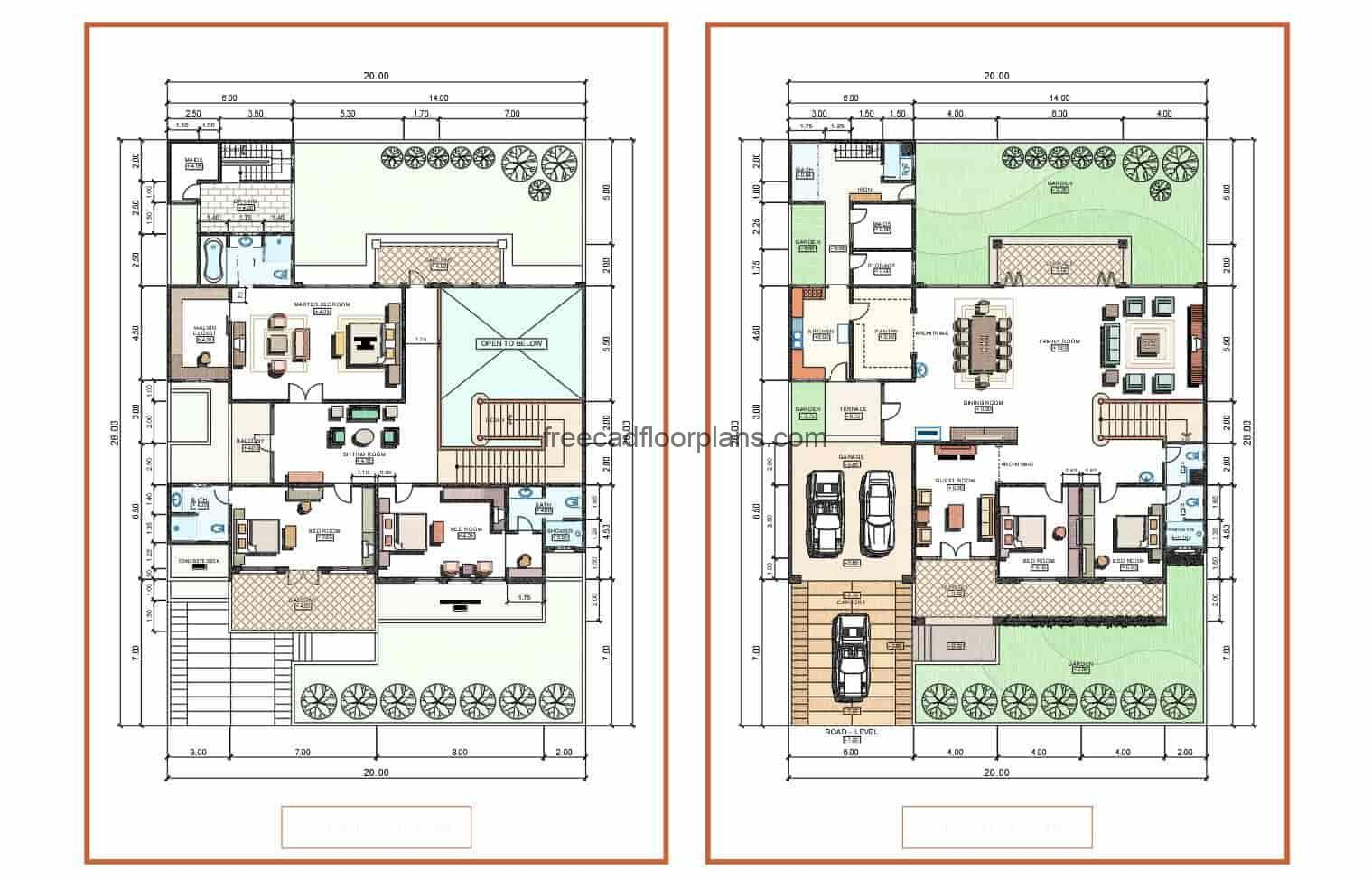 Plans of elegant residence of two levels drawn in autocad, the architectural plant is distributed in two levels for free download