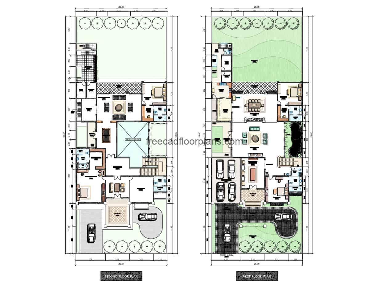 Free DWG file for download, two storey residence design