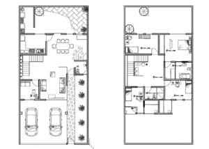 Two-level house plan with rectangular shape, drawing in DWG format with interior blocks, architectural and dimensional plan.