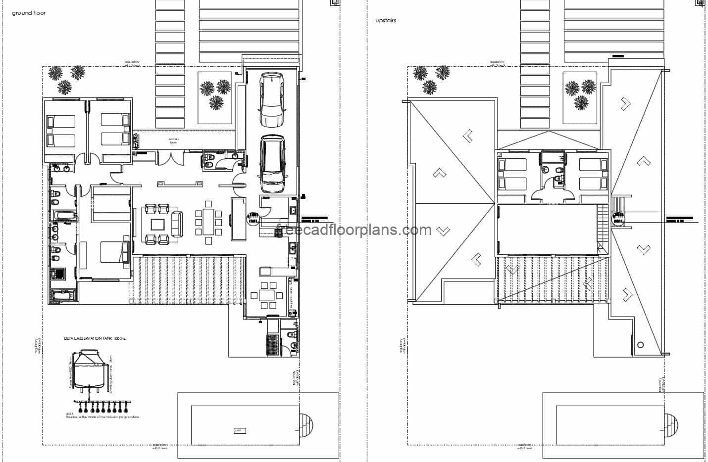 Architectural design file of a two-storey house, complete set of plans for free download in DWG Autocad