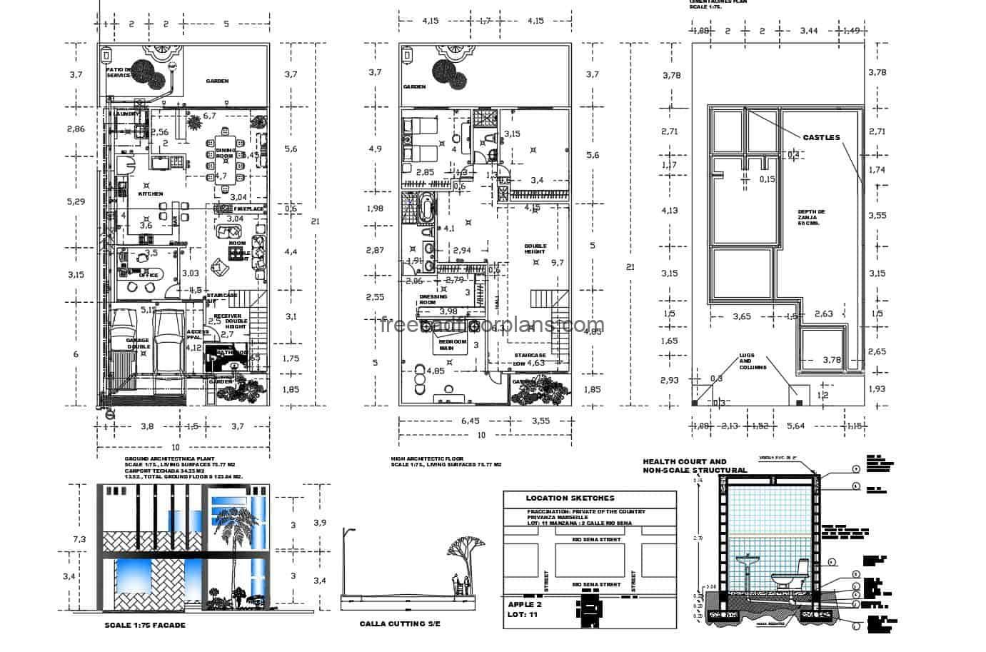Complete architectural project of a two-level and three-room residence, plan for free download with autocad blocks.