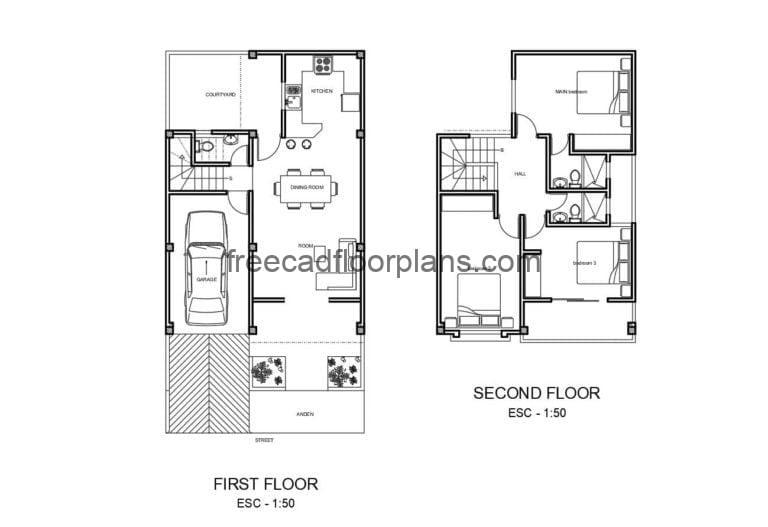 Simple Two-storey Residence Project Autocad Plan, 1908201