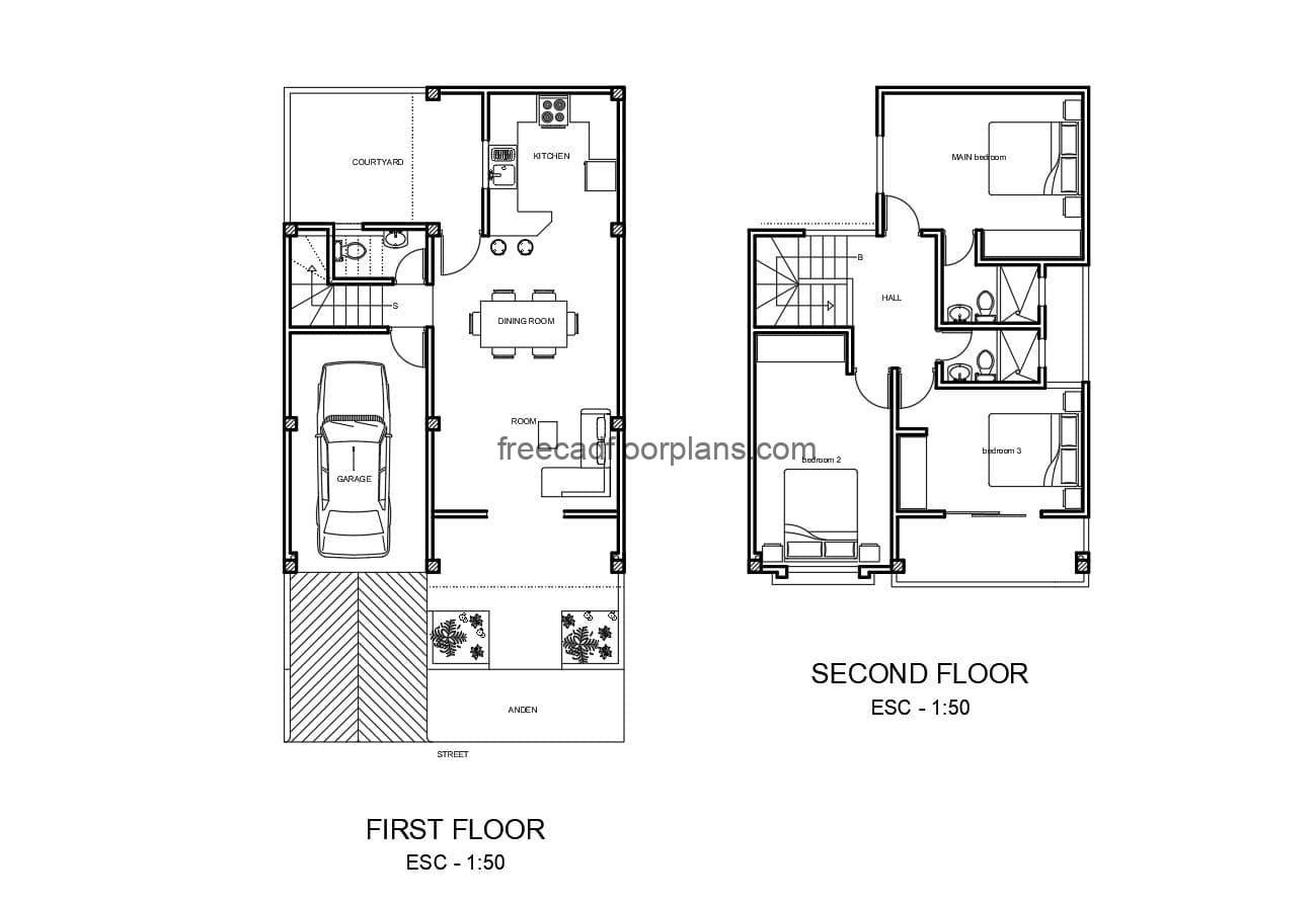 Single residence with two levels architectural plans and facades in Autocad DWG format for free download