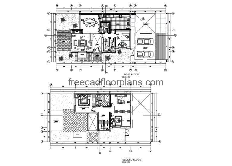 Two-storey Residence With Basement Autocad Plan, 2008201