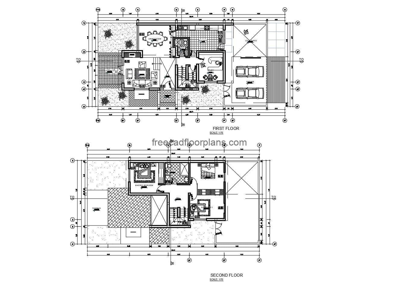 Complete autocad floorplans of a two-storey residence with basement for free download