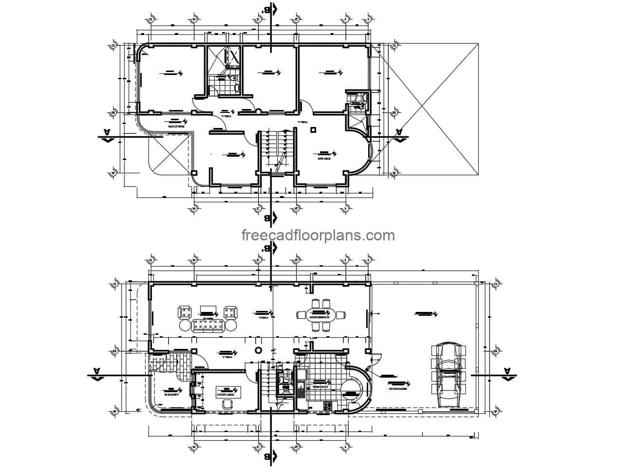 Architectural design and complete plans of two-level residence in autocad for free download.