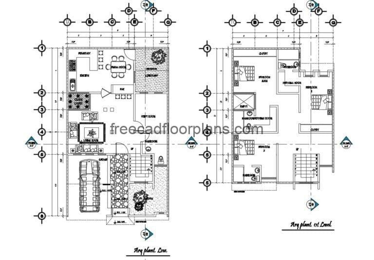 Two-Storey Simple Residence Autocad Plan, 0908202