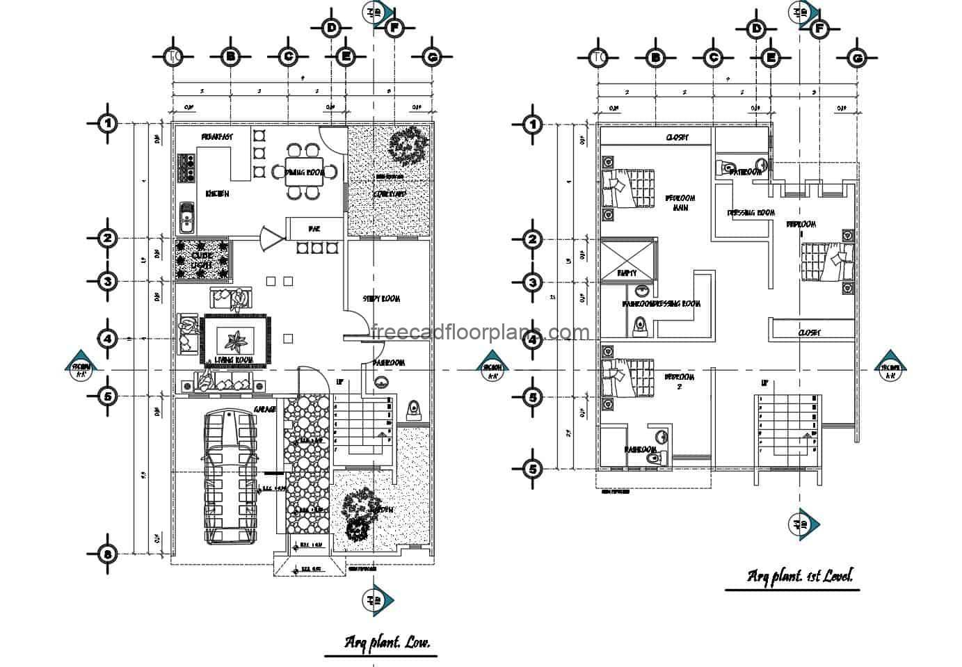 Two-level single residence plans, free to download in Autocad DWG format, three-bedroom residence with private bathrooms