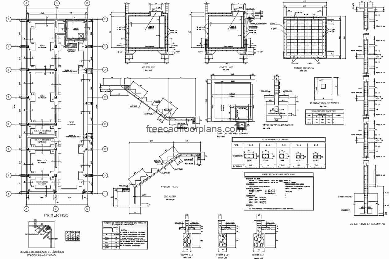 Set of autocad format drawings for free download of foundation with construction details for multi-level building.