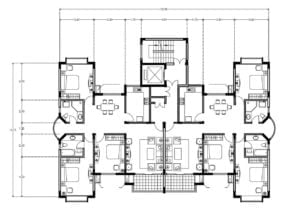 Residential building plan for free download in autocad drawing, architectural plan with autocad blocks and dimensional plan
