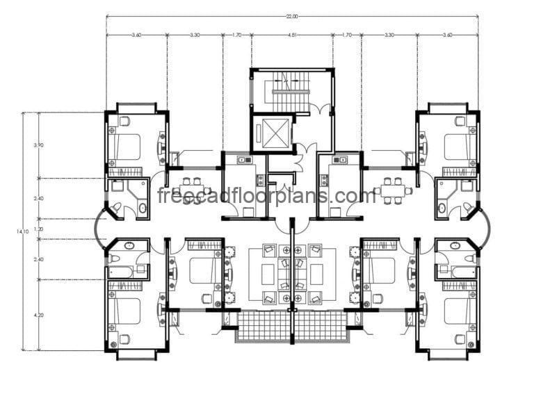 Residential Building Autocad Plan, 0508201