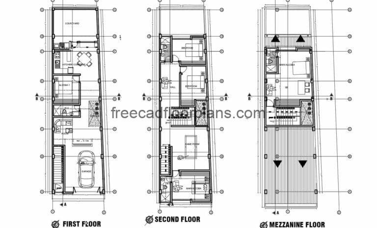 Two-level house with mezzanine, complete architectural plans with dimensions, elevations and sections, foundation plans with details in Autocad DWG format
