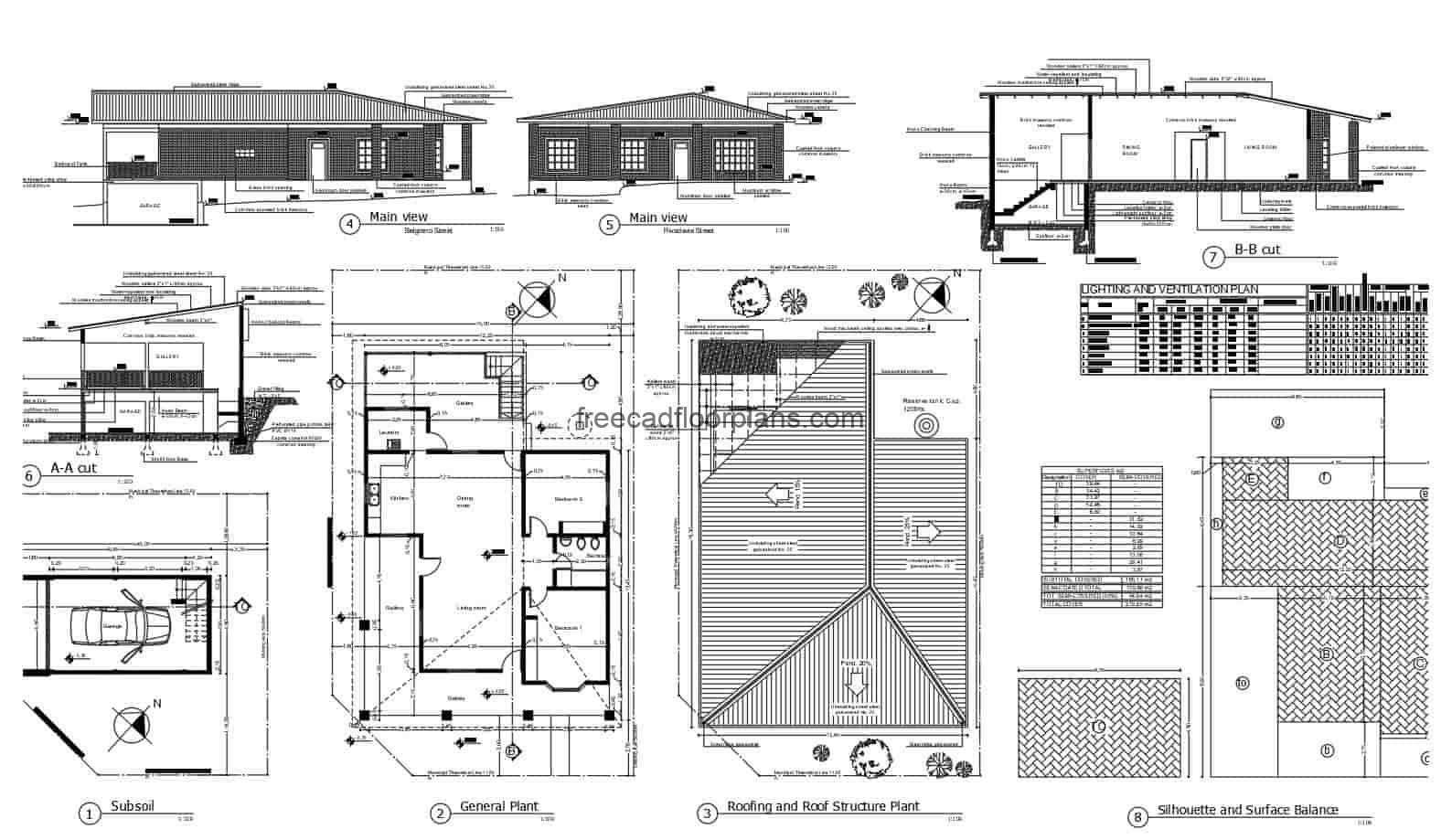 Single-family dwelling with sloping roofs autocad floorplans