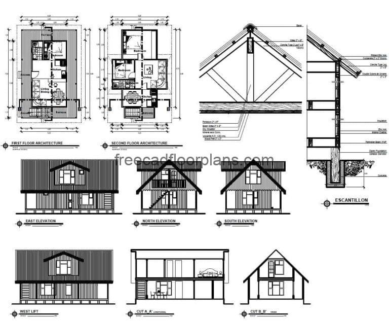 Two-Storey Country House Autocad Plan, 0709201